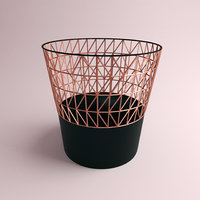 dust bin rose gold 3D