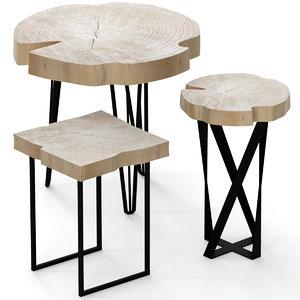 slab chair wood model