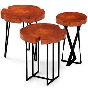 3D slab table coffee model