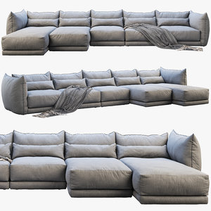montauk jane fabric sofa 3D model