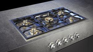 3D gaggenau gas cooktop vg491111