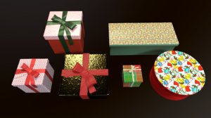 christmas presents pack gift 3D