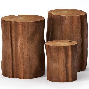 slab table coffee stump 3D