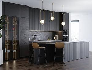 black modern kitchen miele 3D