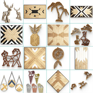 natural wooden decorative set 3D model