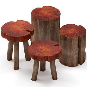 slab table coffee stump 3D model