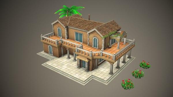 3D stylized tropical building model