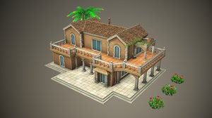 3D stylized tropical building model