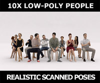 10x LOW POLY ELEGANT CASUAL SITTING PEOPLE VOL01 CROWD