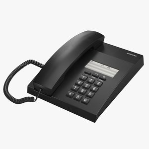 realistic office phone black 3D