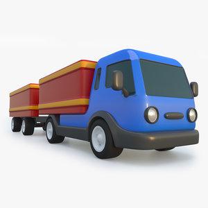 3D cartoon toy truck trailer