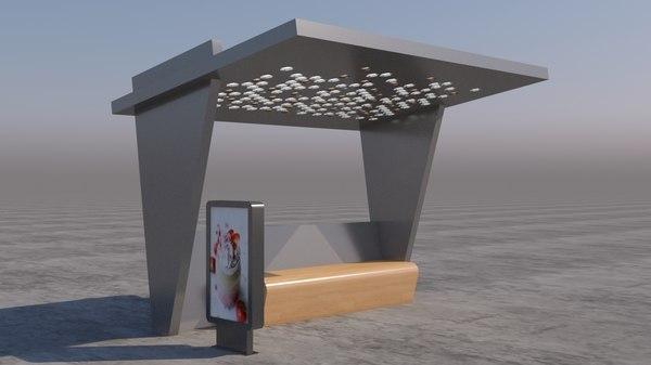 modern bus stop 3D
