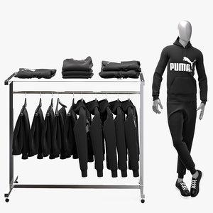 male hoodie pants stand 3D model