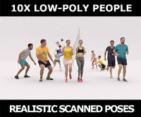 10x LOW POLY SPORT SPORTS PEOPLE VOL01 CROWD