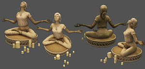 3D model yoga statue low-poly