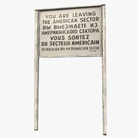 american sector border sign 3D