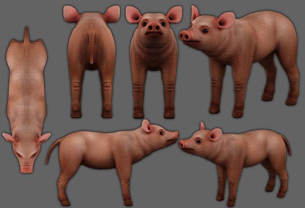piglet low-poly 3D