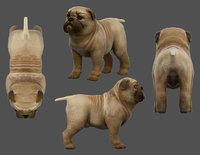 pug dog low-poly 3D model