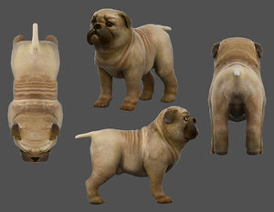 pug dog low-poly 3D model
