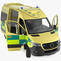 emergency ambulance rigged 3D model