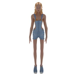 3D caricature female girl