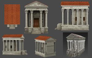 3D antique house low-poly athens