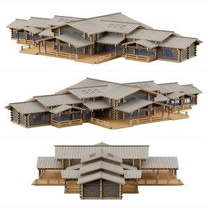 cottage log house model