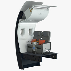 3D model premium economy airplane seat