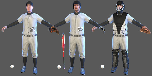 3D pack baseball players batter