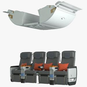 3D premium economy airplane seat model