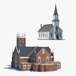 3D churches old wooden