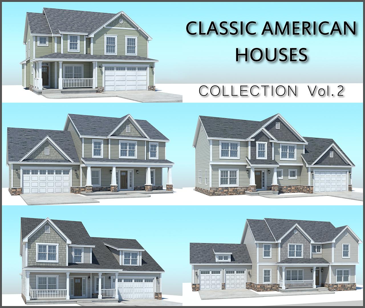 classic american houses 3D model