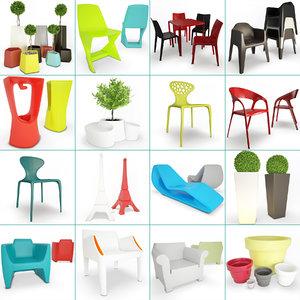 3D terrace plastic furniture accessories