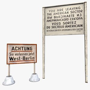 3D model american sector border sign