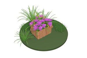 3D flower basket model