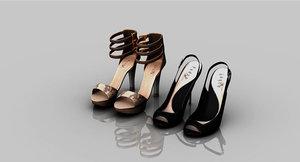 girls heels slipper 3D