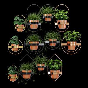 wall planters pots 3D model