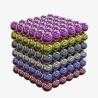 3D model balls magnet cube