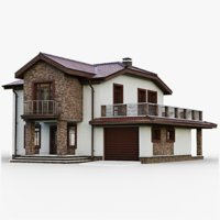 3D model gameready cottage 10 house