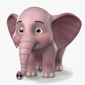 stylized cartoon elephant 3D model