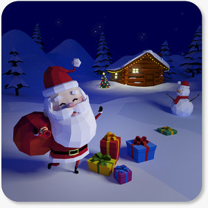 3D style santa claus character