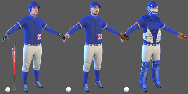 3D baseball players ball