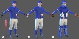 3D baseball players ball