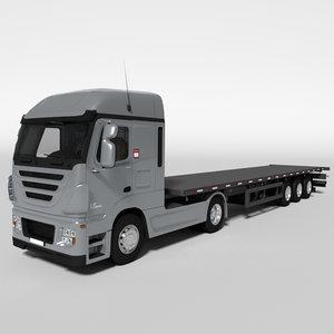 3D truck trailer flat model