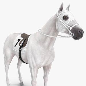 white racehorse horse racing 3D model