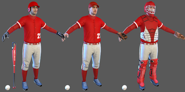 baseball players batter ball 3D model