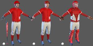 baseball players batter ball 3D model
