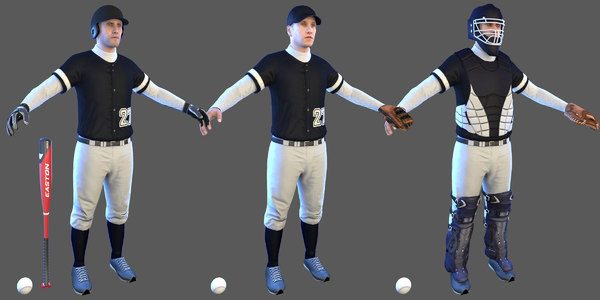 3D baseball players batter ball