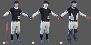 3D baseball players batter ball