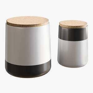 3D realistic black white canisters model